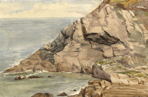 Coastal Rocks and Sea Shore - Original 1872 watercolour painting
