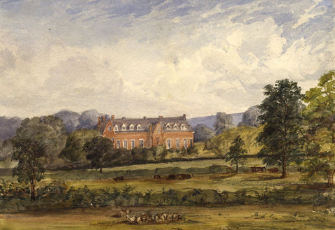 Country House Estate and Grounds - Original 1870s watercolour painting