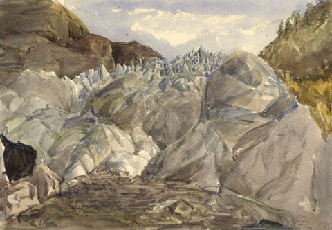 Glacier Field, Interlaken, Switzerland - Original 1870s watercolour painting