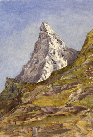 Matterhorn Peak, Switzerland - Original 1870s watercolour painting