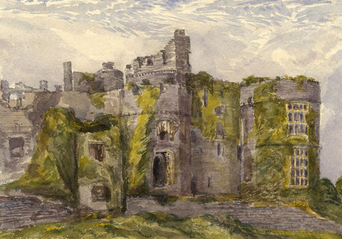 Carew Castle Ruins, South Wales - Original 1870s watercolour painting