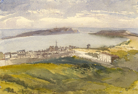 Coastal View Towards Tenby, South Wales - Original 1870s watercolour painting