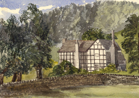 Tudor Timber Framed House, Herefordshire - Original 1870s watercolour painting