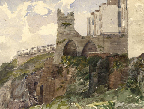 Tenby Castle Ruins, South Wales - Original 1870s watercolour painting