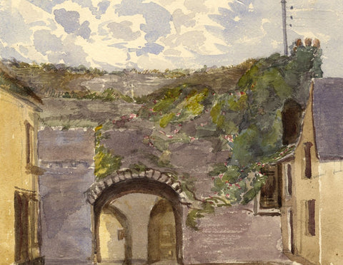 Village Archway, Tenby, South Wales - Original 1870s watercolour painting