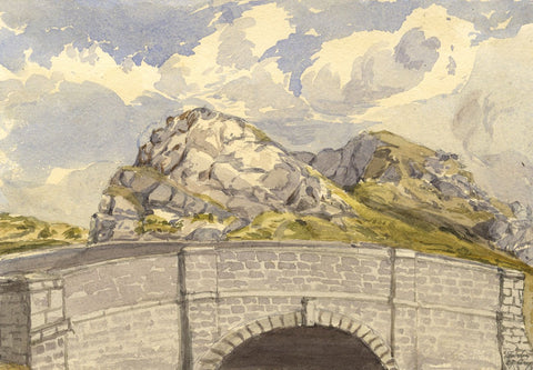 Pembrokeshire Landscape with Bridge - Original 1870s watercolour painting