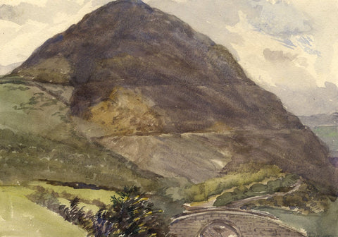 Penmaenmawr Mountain View, South Wales - Original 1870s watercolour painting