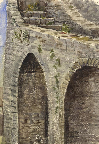 Tenby Town Walls, Detail - Original 1870s watercolour painting