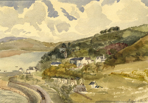 Ferryside Village, South Wales - Original 1873 watercolour painting