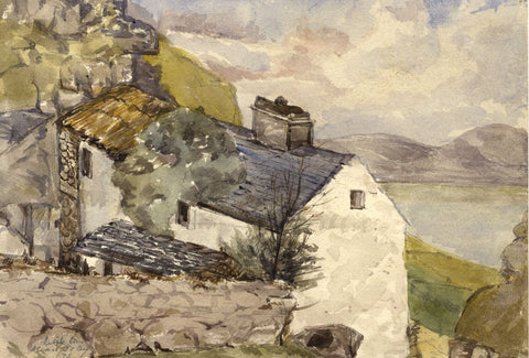 Llandudno Cottages, Irish Sea Coast, Wales - Original 1873 watercolour painting