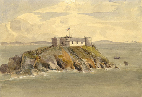 St. Catherine's Fort & Island, Tenby, Wales - Original 1873 watercolour painting