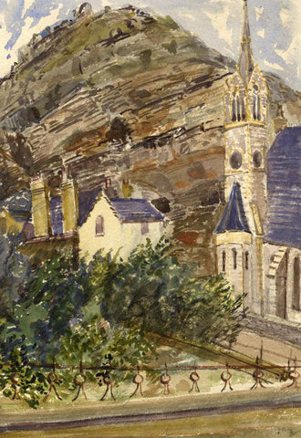 St. John's Church Spire & Park, Tenby, Wales -Original 1873 watercolour painting
