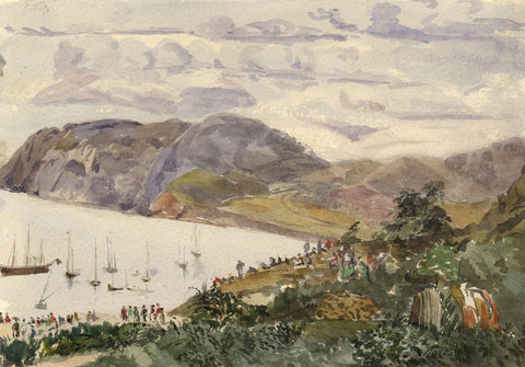 Camaes Sailboat Regatta, Welsh Coast - Original 1873 watercolour painting