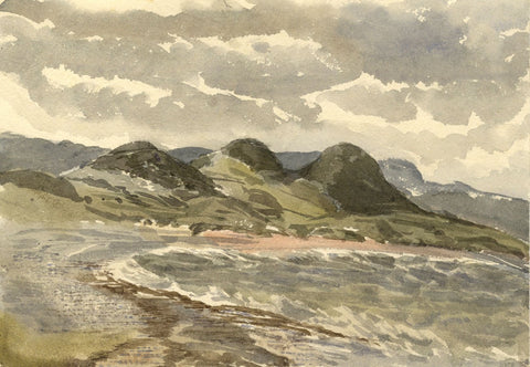 Stormy Skies, North Beach, Tenby, Wales-Original 1873 watercolour painting
