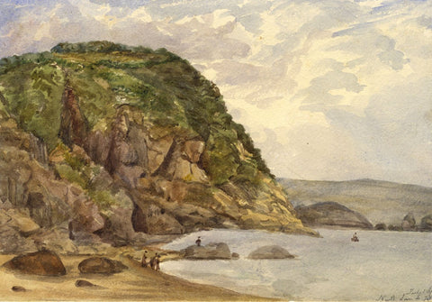 Figures at North Sands Beach, Tenby, Wales - Original 1873 watercolour painting