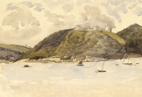 Harbour Ships Passing Llansteffan Castle, Wales - 1873 watercolour painting