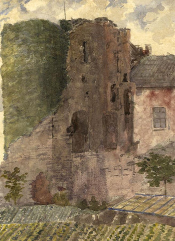 Red Castle Tower Ruins, Detail, Wales - Original 1873 watercolour painting