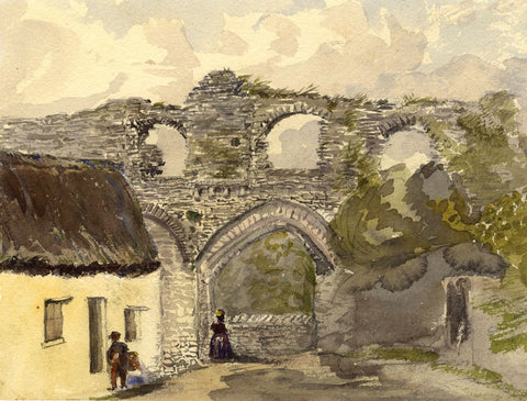 Figures by the Castle Arches, Tenby, Wales - Original 1873 watercolour painting