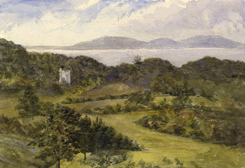Castle Tower Ruins in a Coastal Landscape - Original 1873 watercolour painting
