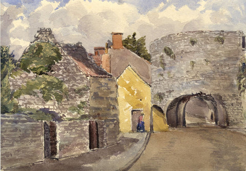 Road Beneath the Five Arches, Tenby, Wales - Original 1873 watercolour painting