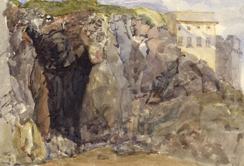 Coastal Beach Cave, Tenby, Wales - Original 1873 watercolour painting