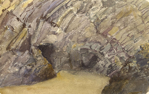 Beach Cave Entrances, Tenby, Wales - Original 1873 watercolour painting