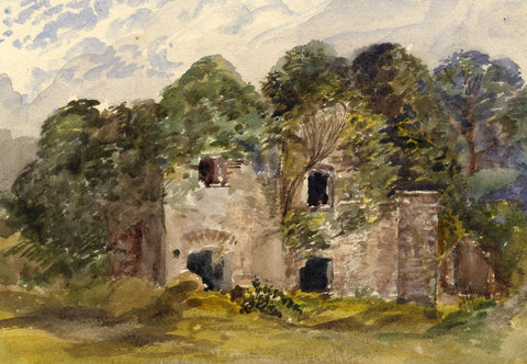 Scotsborough House Ruins, Tenby, Wales - Original 1875 watercolour painting