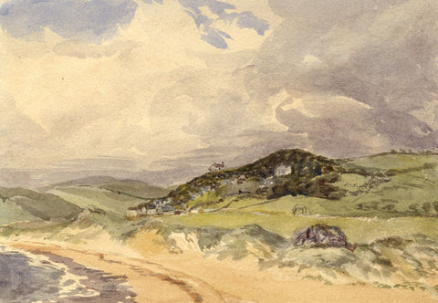 Beach Sand Dunes, Tenby Coast, Wales - Original 1875 watercolour painting