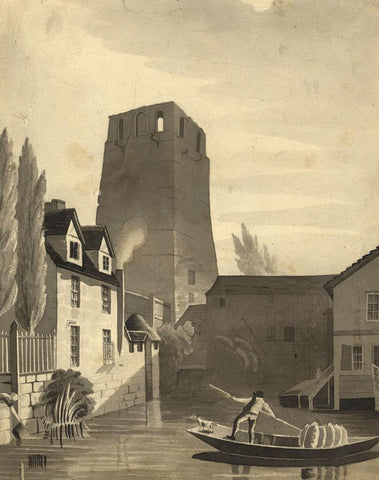 St George's Tower, Oxford Castle - Early 19th-century watercolour painting