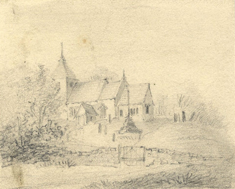 St Lawrence Church, North Hinksey, Oxford - Early 19th-century graphite drawing