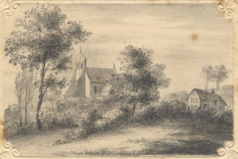 St Nicolas Church, Forest Hill, Oxford - Original 19th-century graphite drawing