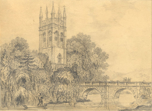 Magdalen College Tower & Bridge, Oxford - Original 19th-century graphite drawing
