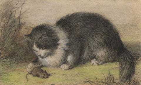 C.M., Cat Playing with Mouse - Original early 19th-century pastel drawing