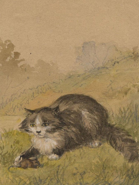 C.M., Cat with Mouse - Original early 19th-century watercolour painting
