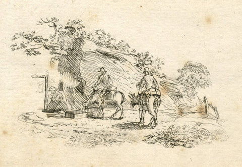 C.M., Men on Horseback at Watering Trough - Early 19th-century pen & ink drawing
