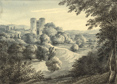 C.G., Saltwood Castle, Hythe, Kent -Original 1842 grisaille watercolour painting
