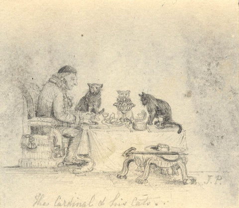 J.P., Cardinal Richelieu and his Cats - Early 19th-century graphite drawing