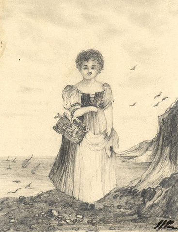 Girl Fish Seller with Basket - Original 1836 graphite drawing