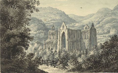C.G., Tintern Abbey - Original 1830s/40s grisaille watercolour painting