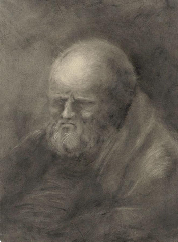 Old Man Portrait - Original early 19th-century watercolour painting