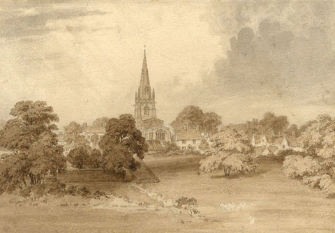 Attrib Frederick Mackenzie OWS, St Mary's Church Witney,19th-century watercolour