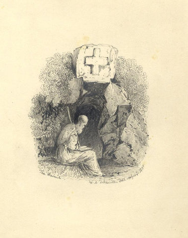 William Alfred Delamotte, The Hermit - Original 1833 graphite drawing