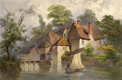 R. Mingaye, Iffley Mill, Oxford - Original 1869 watercolour painting