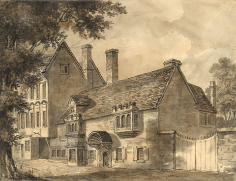 Old Greyhound Inn, Gravel Walk Magdalen Oxford-19th-century watercolour painting