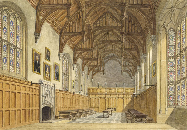Attrib. W.A. Delamotte, Dining Hall Pembroke College Oxford, C19th watercolour