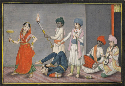 Indian Miniature Company Painting - Acrobat and Musicians - 1793 watercolour