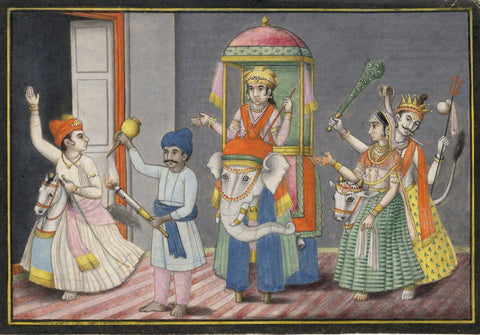 Indian Miniature Company Painting - Performers + Hobby Horses - 1793 watercolour