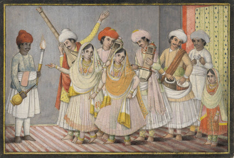 Indian Miniature Company Painting - Musicians and Dancers - 1795 watercolour