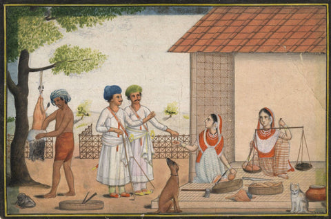 Indian Miniature Company Painting -Gentlemen with Meat Sellers -1793 watercolour