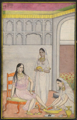 Indian Miniature Company Painting -Lady Having her Feet Washed,1793 watercolour